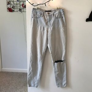 Light blue torn high waist jeans
